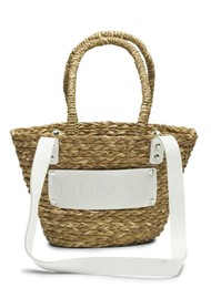 NUNOO Small Straw Beach Bag - White