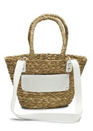 NUNOO Small Straw Beach Bag - White