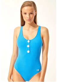 SOLID & STRIPED The Anne Marie Button One Piece Swimsuit - Azure Cord