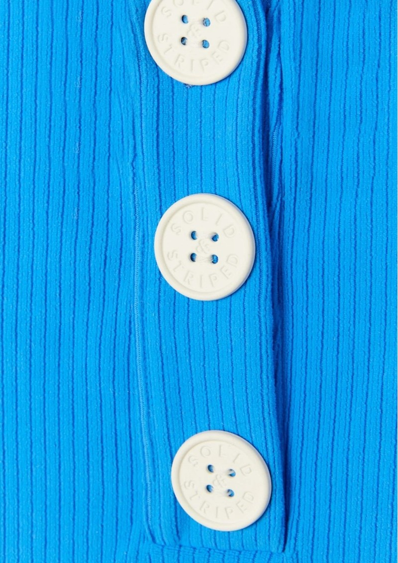 SOLID & STRIPED The Anne Marie Button One Piece Swimsuit - Azure Cord main image