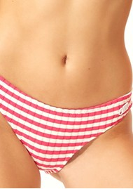 SOLID & STRIPED Elle Ribbed Bikini Bottoms - Fuschia Stripe