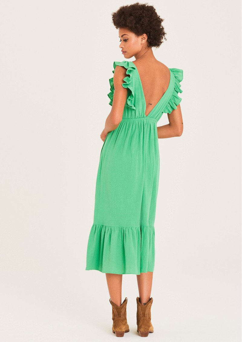 Ba&sh Joyce Cotton Dress - Green  main image