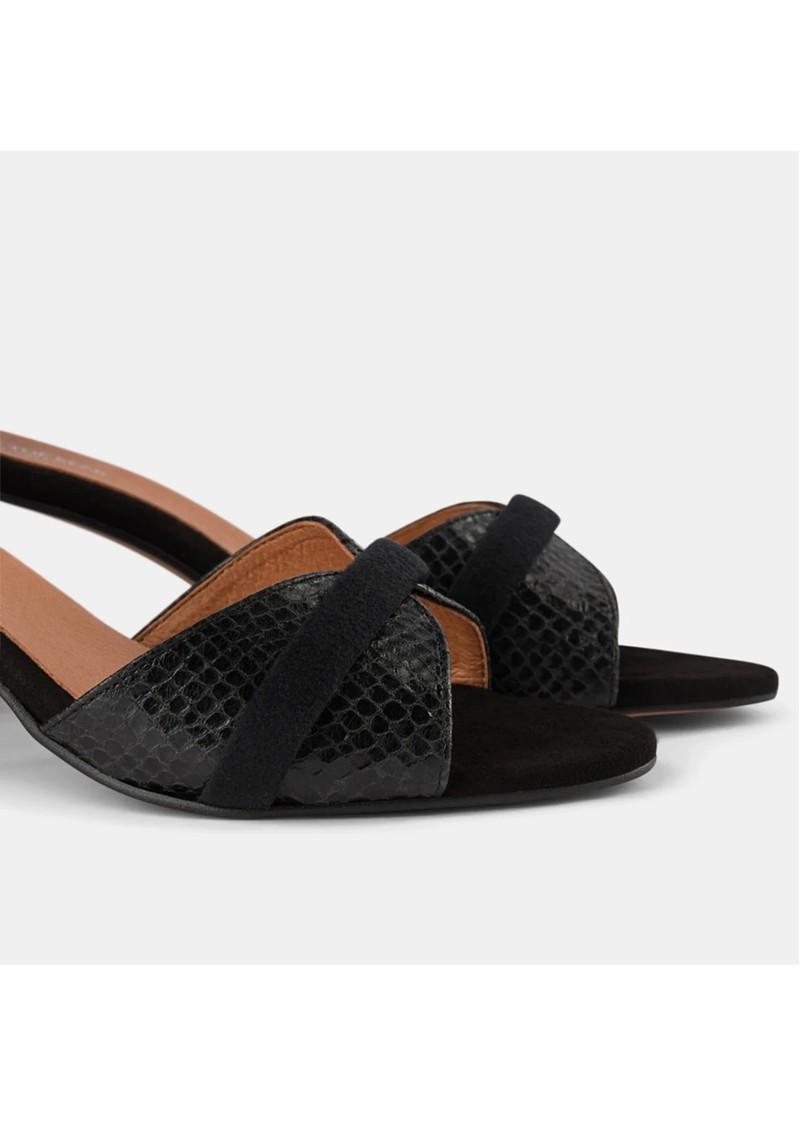 SHOE THE BEAR May Wave Snake Block Heeled Sandal - Black main image