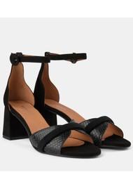 SHOE THE BEAR May Wave Snake Block Heeled Sandal - Black