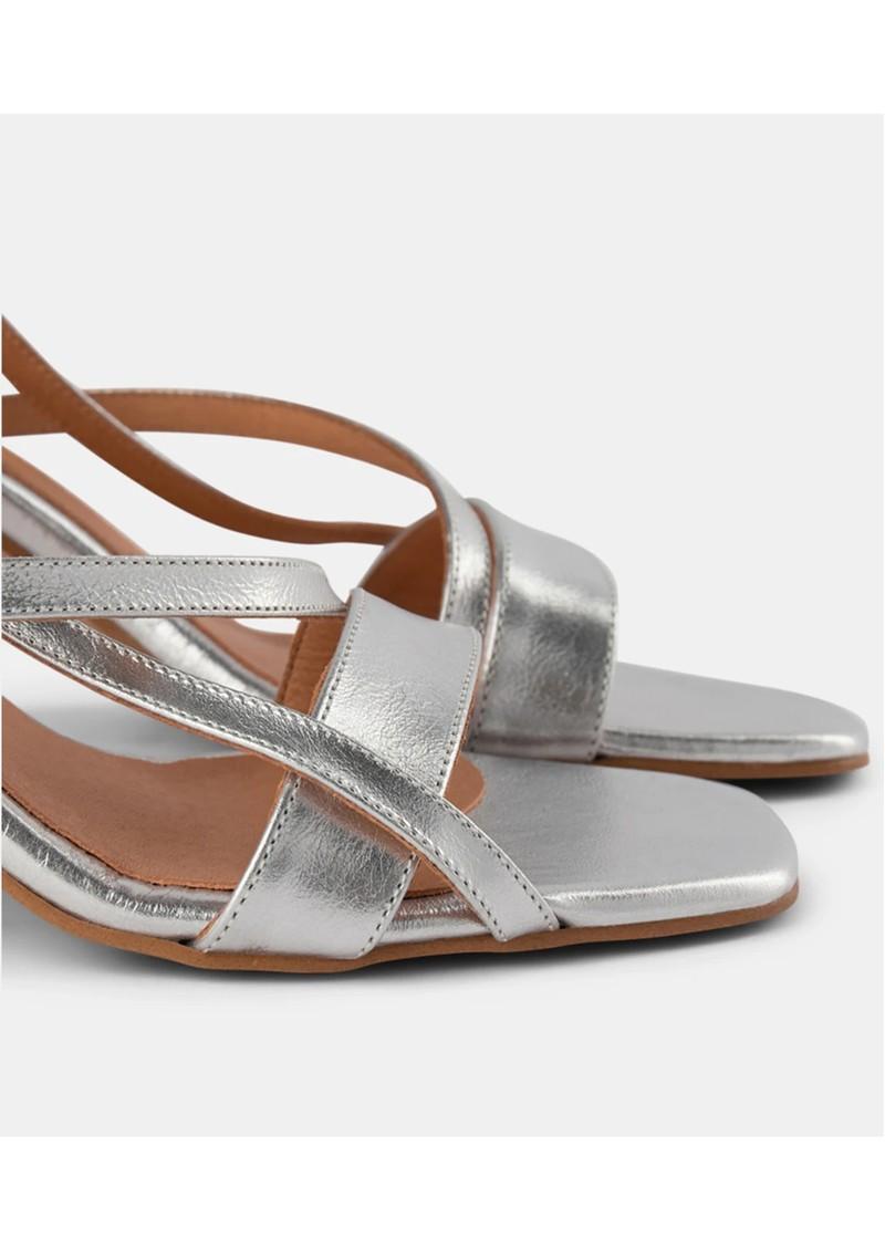 SHOE THE BEAR Rosana Starp Metallic Strappy Heels - Silver main image