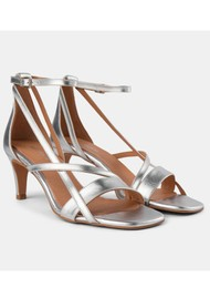 SHOE THE BEAR Rosana Starp Metallic Strappy Heels - Silver