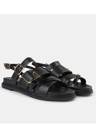 SHOE THE BEAR Joy Multi Strap Leather Sandal - Black