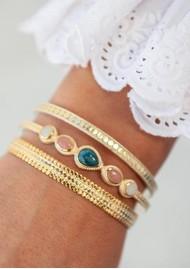 ANNA BECK Mosaic Apatite Guava Moonstone Cuff - Gold