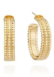 ANNA BECK Mosaic Medium Scalloped Hoops - Gold