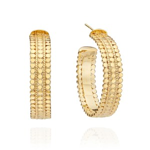 Mosaic Medium Scalloped Hoops - Gold