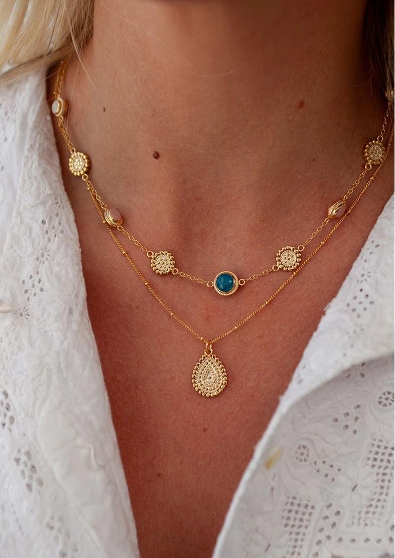 ANNA BECK Mosaic Apatite, Guava & Moonstone Station Necklace - Gold main image