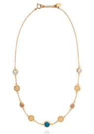 ANNA BECK Mosaic Apatite, Guava & Moonstone Station Necklace - Gold