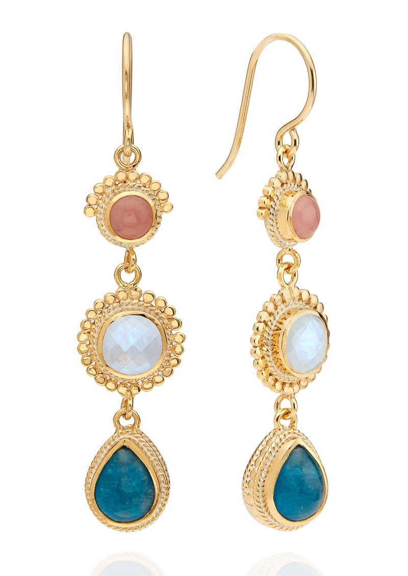 ANNA BECK Mosaic Apatite, Guava & Moonstone Triple Drop Earrings - Gold main image