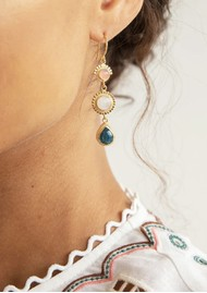 ANNA BECK Mosaic Apatite, Guava & Moonstone Triple Drop Earrings - Gold