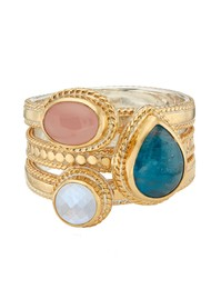 ANNA BECK Appatite, Guava & Moonstone Faux Stacking Ring - Gold
