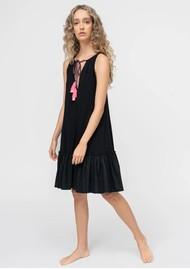 PITUSA Keyhole Tassel Tie Cotton Mix Dress - Black