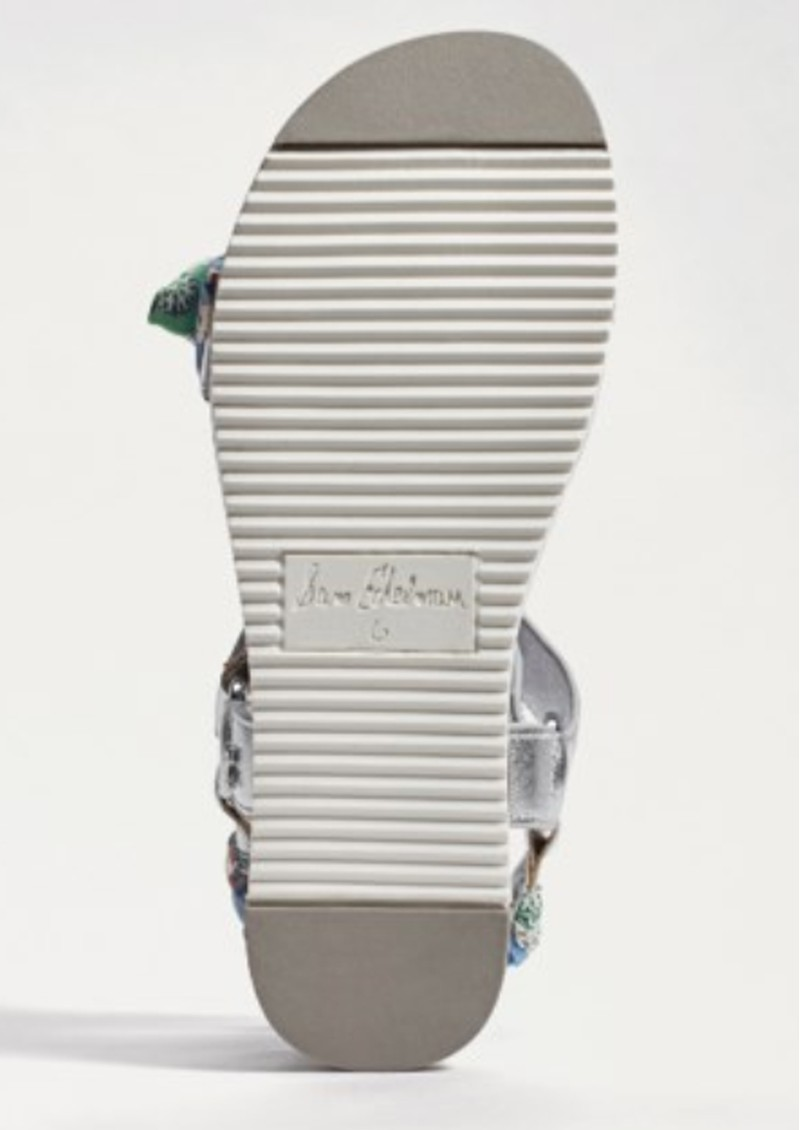 Ashie Scarf Chunky Sandal - Silver & Green main image