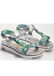 Sam Edelman Ashie Scarf Chunky Sandal - Silver & Green