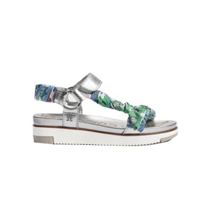 Ashie Scarf Chunky Sandal - Silver & Green
