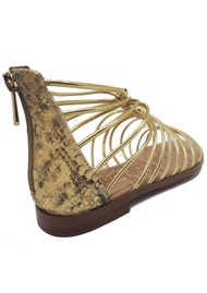 Sam Edelman Emi Snake Leather Sandals - Gold