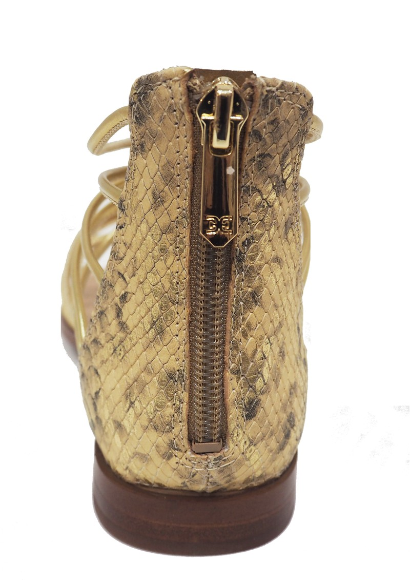 Emi Snake Leather Sandals - Gold main image