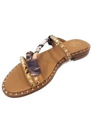 Ash Paprika Studded Sandal - Nude/Foulard