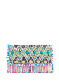 ASHIANA Beaded Sequin Tassel Clutch - Multi