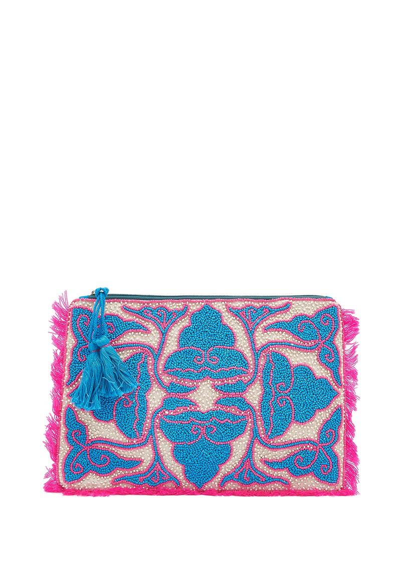 ASHIANA Beaded Patterned Clutch - Pink & Blue main image