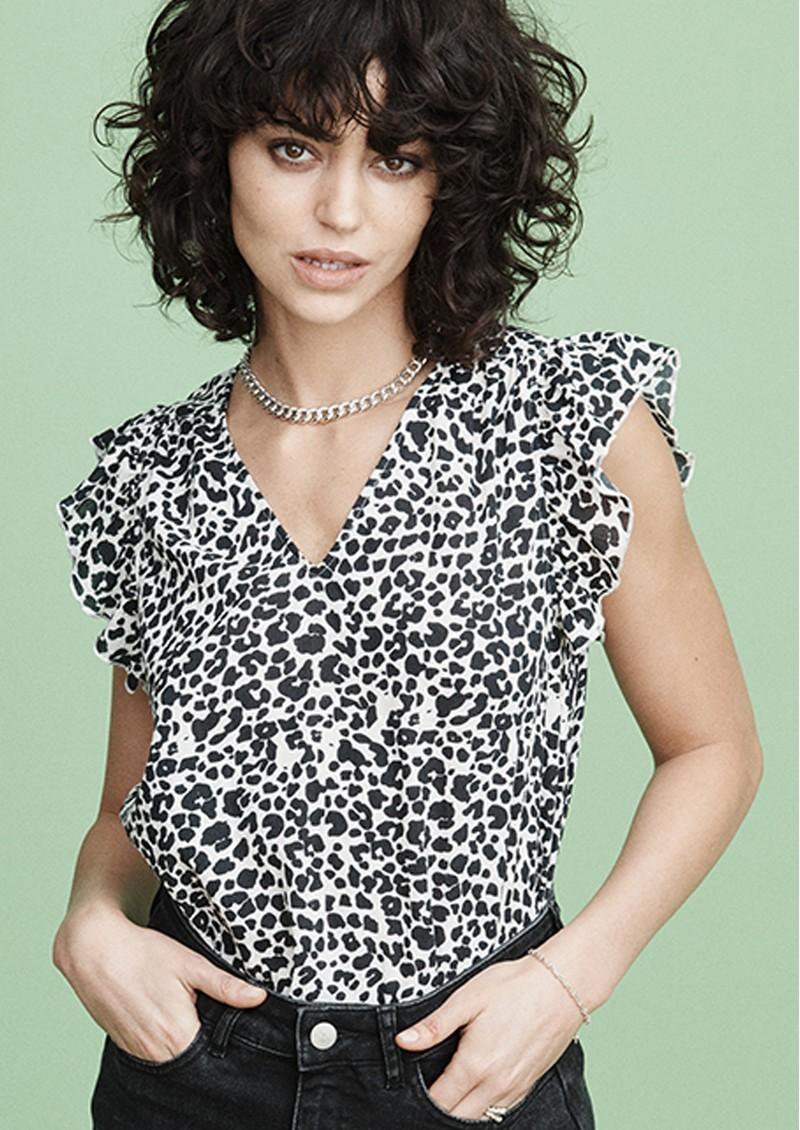 MAYLA Veronica Cotton Top - Black Leo main image