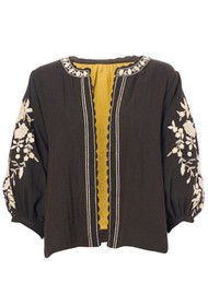 M.A.B.E Carmel Embroidered Cotton Jacket - Black & Ecru
