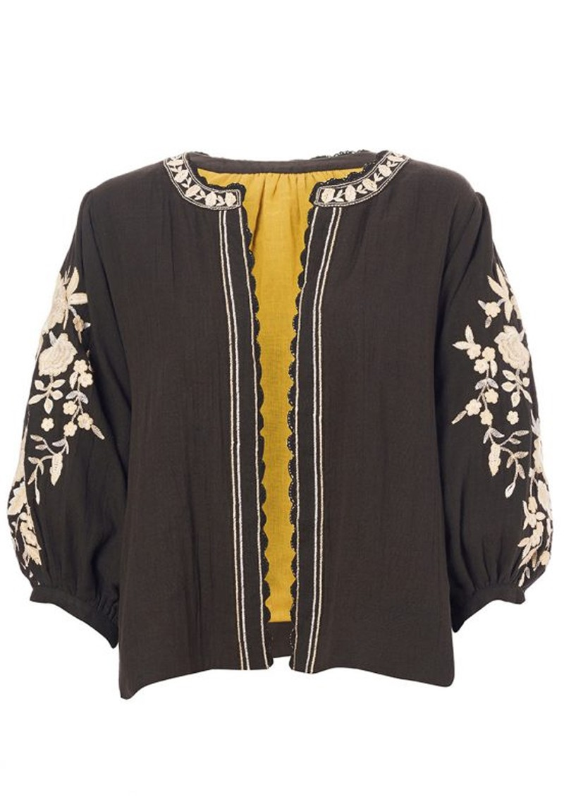 M.A.B.E Carmel Embroidered Cotton Jacket - Black & Ecru main image