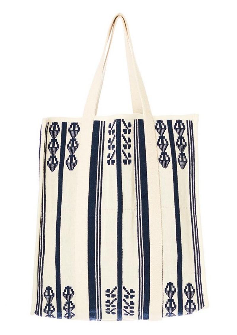M.A.B.E Mirri Embroidered Tote - Ecru & Navy main image
