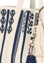 M.A.B.E Mirri Embroidered Tote - Ecru & Navy