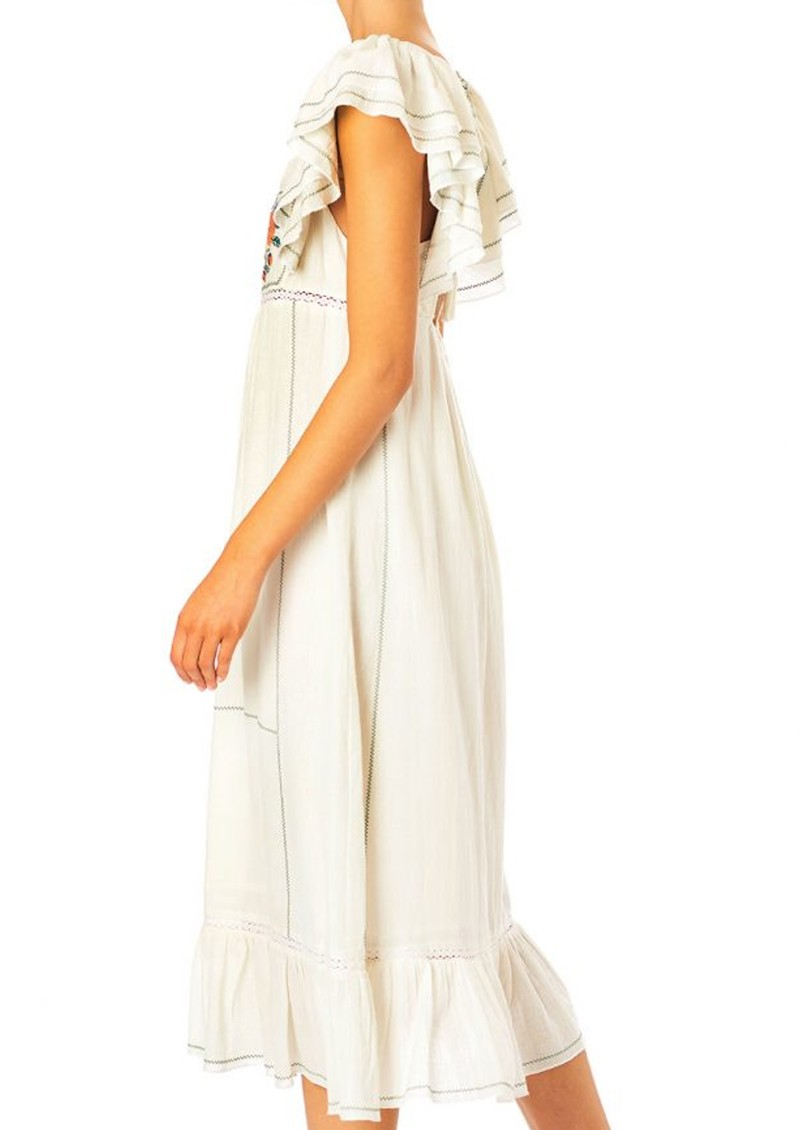 M.A.B.E Alberta Embroidered Cotton Dress - Ecru main image