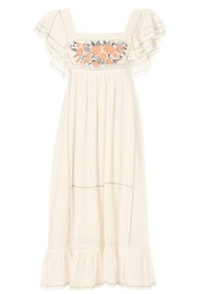 M.A.B.E Alberta Embroidered Cotton Dress - Ecru