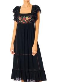 M.A.B.E Alberta Embroidered Cotton Dress - Black