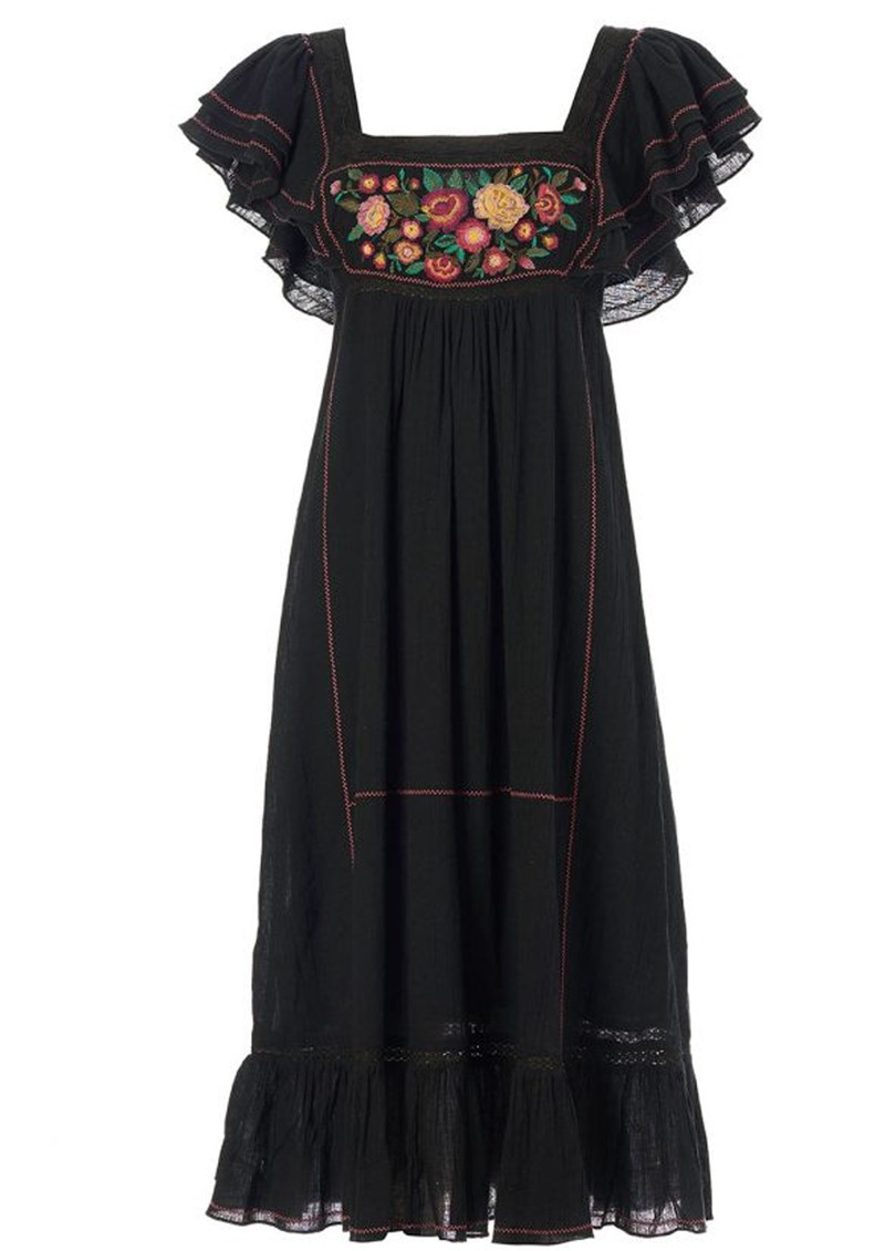 Alberta Embroidered Cotton Dress - Black main image