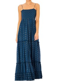 M.A.B.E Livia Frill Cotton Maxi Dress - Navy