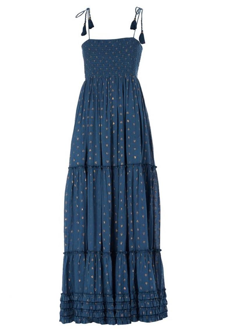 M.A.B.E Livia Frill Cotton Maxi Dress - Navy main image