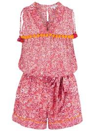 POUPETTE ST BARTH Mya Pom Pom Trimmed Short Jumpsuit - Pink Glory