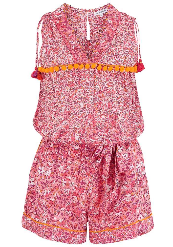 POUPETTE ST BARTH Mya Pom Pom Trimmed Short Jumpsuit - Pink Glory main image