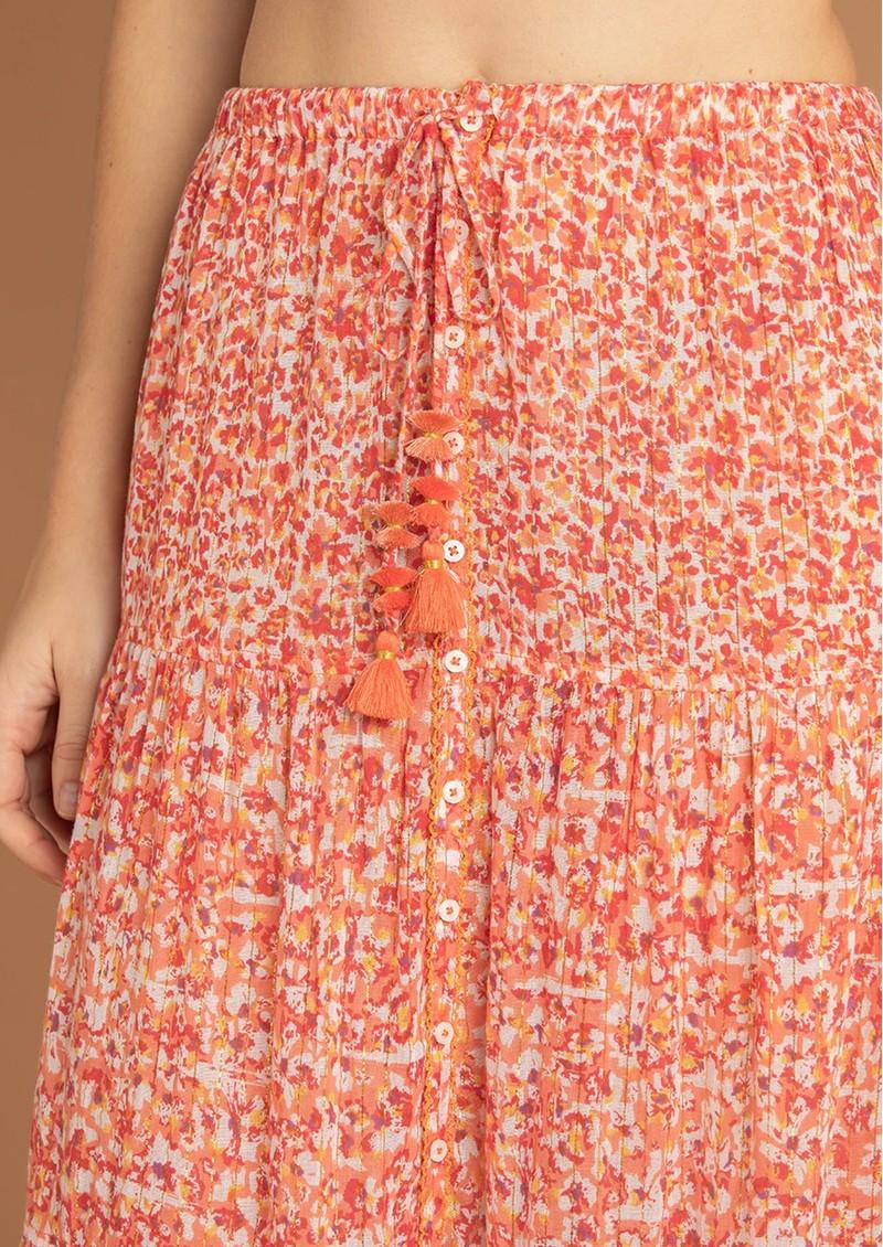 POUPETTE ST BARTH Triny Panelled Cotton Floral Skirt - Red Iris main image