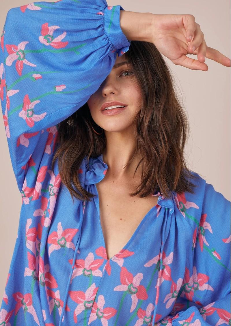 BAILEY & BUETOW Carmen Blouse - Blue Floral main image