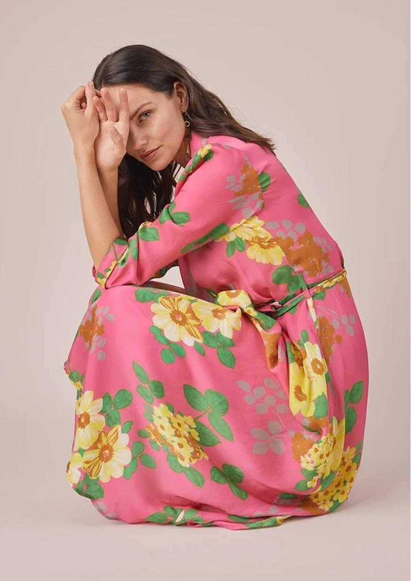 BAILEY & BUETOW Colette Wrap Dress - Pink Floral main image
