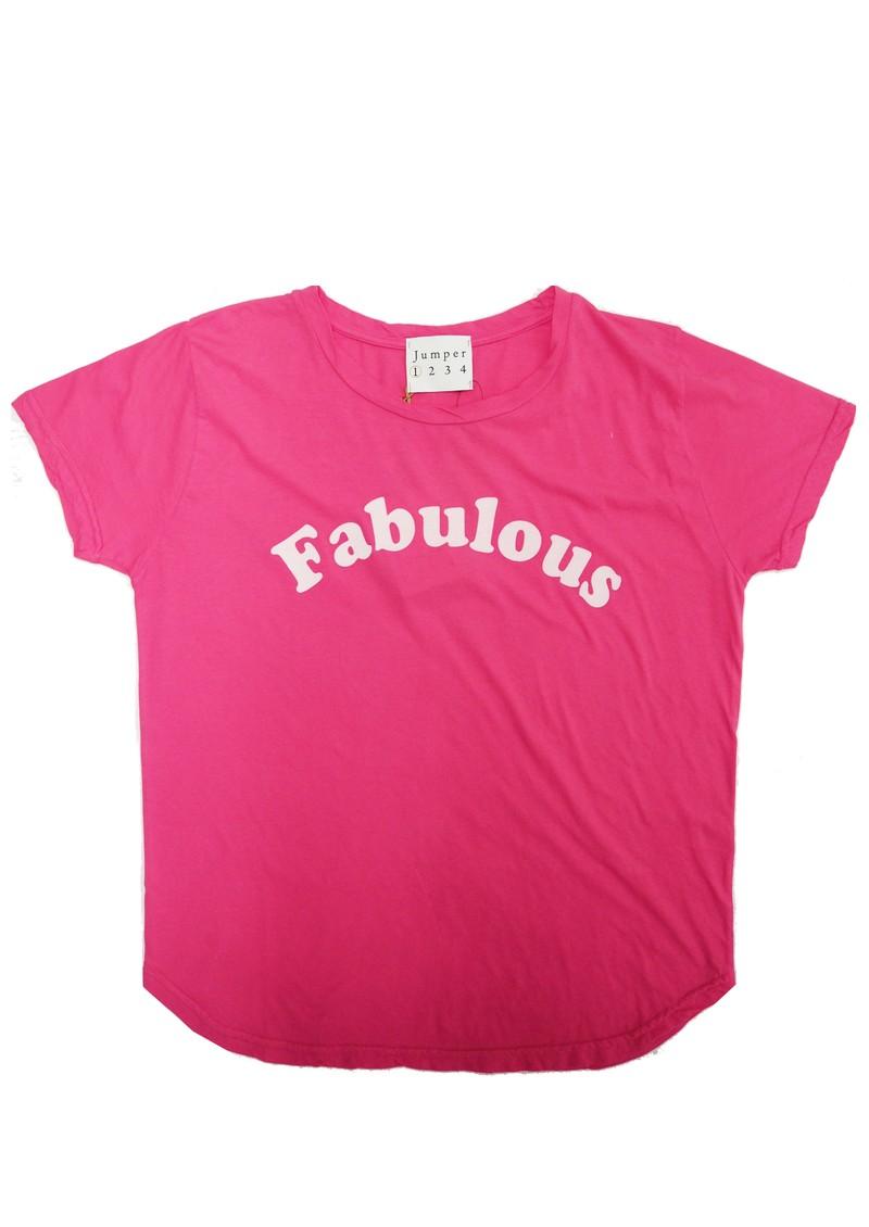 JUMPER 1234 Fabulous Cotton T-Shirt - Neon Pink & White main image