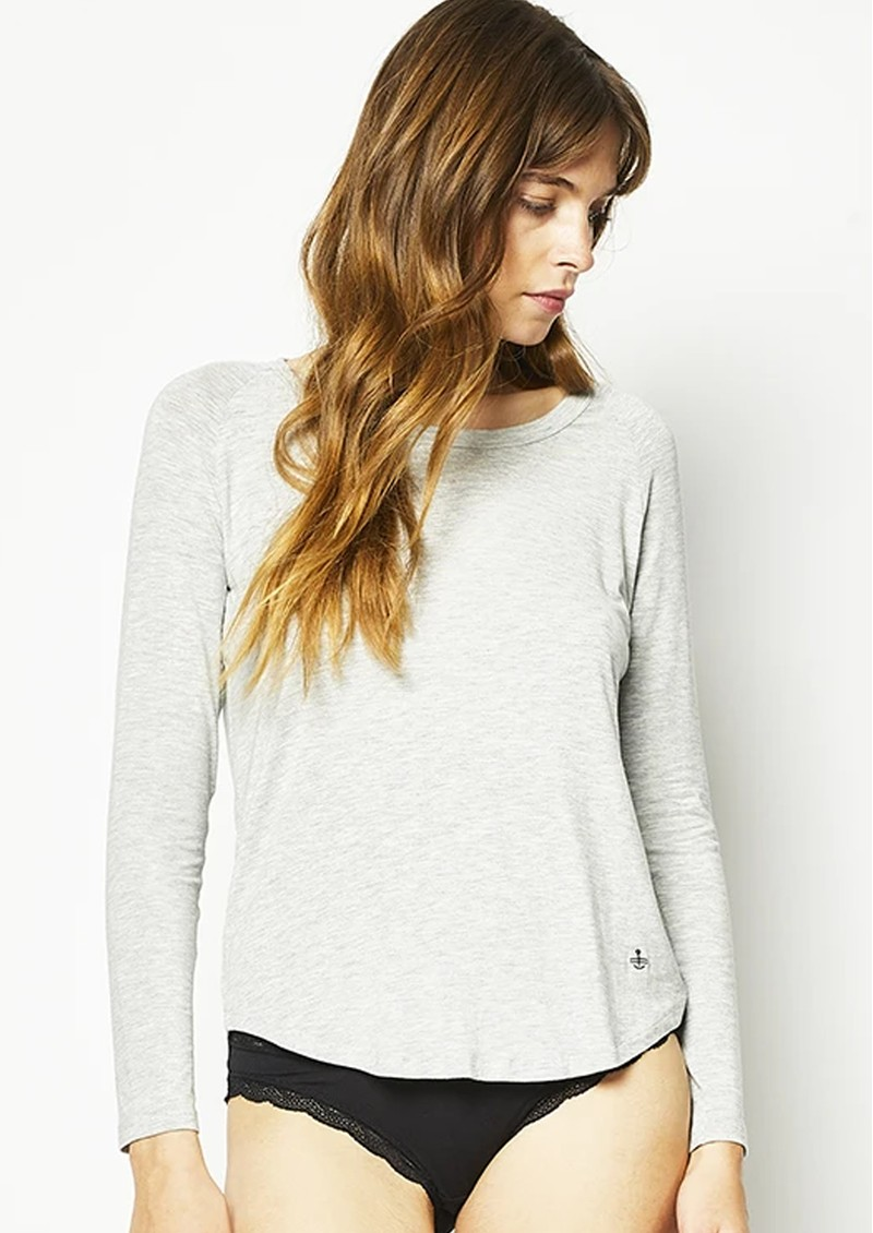 STRIPE & STARE Slouch Long Sleeve Top - Grey Marl main image