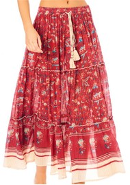 M.A.B.E Sibel Printed Maxi Skirt - Red