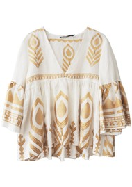 KORI Embroidered Linen Top - White & Gold