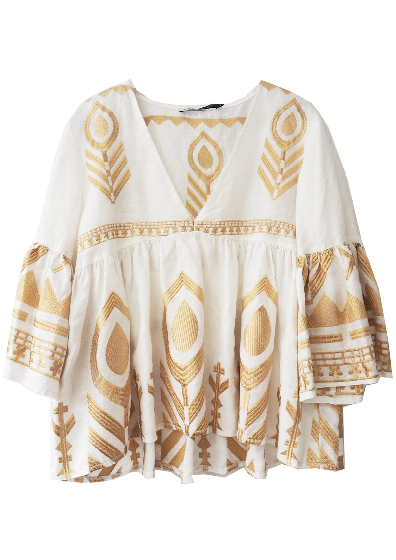 KORI Embroidered Linen Top - White & Gold main image