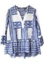 KORI Embroidered Cotton Top - White & Blue